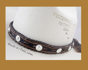 Cowboy Horsehair hat band, Silver Conchos, 7 Strands, double horsehair tassels, wider style, Stetson perfect, Distinctive, Cinnamon-black