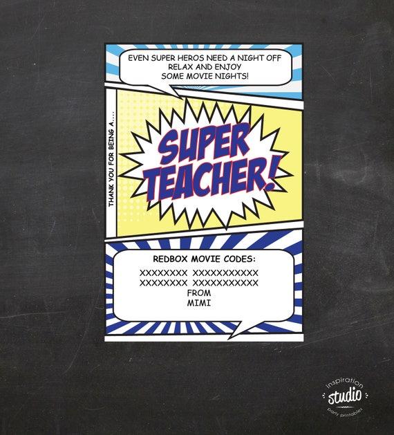 Super Hero Super Teacher Redbox Movie Printable use it to