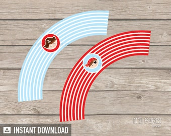 Pirate Party - Cupcake wrappers - Little Pirate - Nautical Party - INSTANT DOWNLOAD - Printable PDF