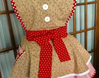 Gingerbread Apron Gingerbread Man Apron Gingerbread Christmas Apron Christmas Apron Peppermint Stripes 1950 Retro