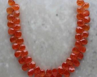 Carnelian Almond Briolette 5mm x 7mm Semi-Precious Gemstones