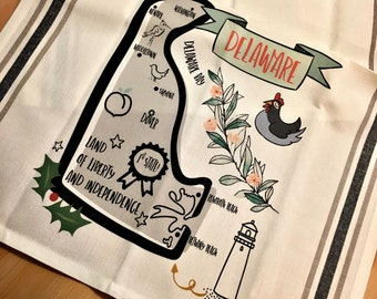 Delaware State Map Kitchen/Tea Towel