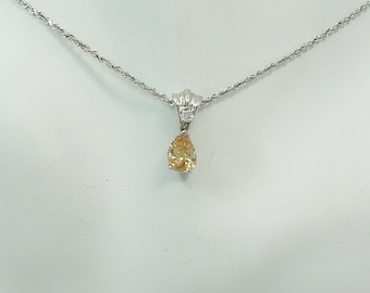 14K White Gold PENDANT Champagne Topaz Pear shape with Cubic Zironian accent, Solid White Gold Bail Gemstone Pendant 14K PEN14KWCHPCZ