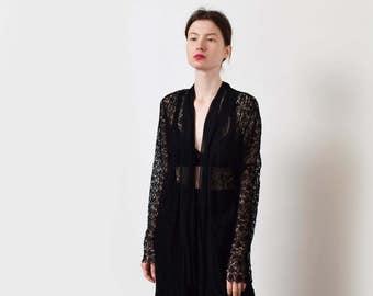 Black Chantilly Lace Jacket with Eyelash Edges Vintage Silk Lace Blouse XS S