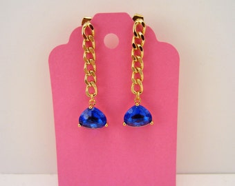 Rhinestone drop earrings. Blue rhinestone jewelry. Turquoise earrings. Blue and gold earrings. Chain earrings. December birthstone.