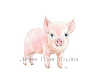 Pig Art Pig Painting Pig Print Pig Watercolor Painting Animal Watercolor Print Pink Pig Nursery Pig Baby Pig Pink Piglet Farm Animal Print.