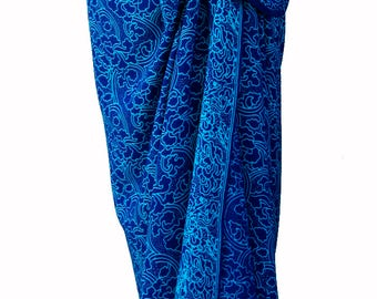 Batik Sarong Women's Clothing - Beach Sarong Wrap Skirt Batik Pareo Swimsuit Cover Up Long Sarong Wrap - Beachwear - Sarong Skirt or Dress