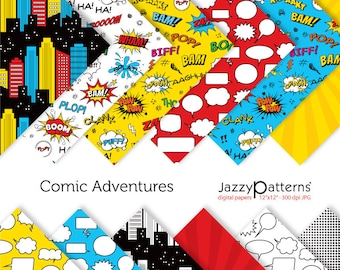 Comic book digital papers in red, blue and yellow. Superhero digital papers for party decorations and invitations. DP096