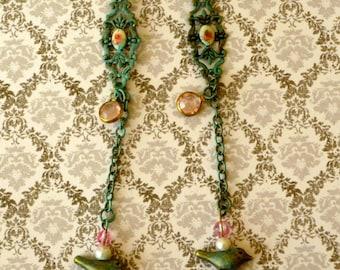 Verdigris Rosebud Bird Earrings Dangle Lever Back Earrings