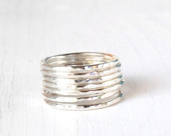 GET 1 FREE WITH Seven Stackable silver rings / hammered stacking rings in shiny silver / simple silver skinny stacking rings modern Handmade