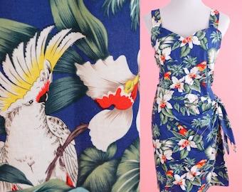 Vintage Tropical Print Wrap Dress // Evergreen Island, 50s, 80s, 90s, Beachwear, Women Size Medium, Large