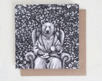 Woodland Greeting Card - Bear with Tea and Toast
