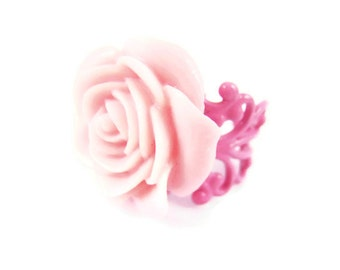 Pink Rose Ring Rose Pink Adjustable Ring Rose Jewelry Floral Ring Flower Ring Botanical Pink Jewelry Spring Summer Trends Gift Idea For Her