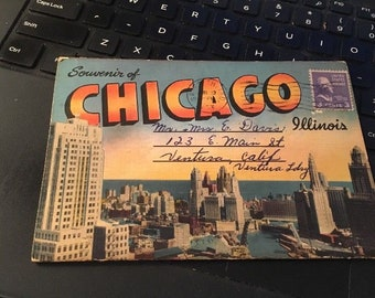 Vintage fold out picture postcard set: Chicago 18 Views
