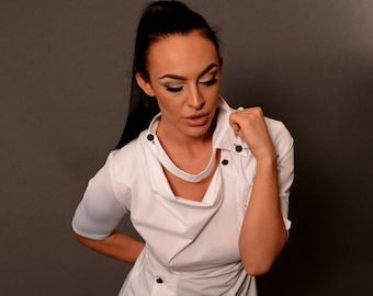 White Shirt with Greek Neckline, White Unusual Top