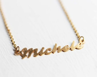Michele Name Necklace, Michele Necklace, Name Necklace, Michele, Gold Name Necklace, Cursive Name Necklace, Script Name Necklace, Gold Chain
