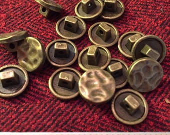 12 mm hammered antique brass colored metal shank button, set of 10