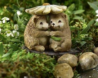 Miniature Garden - I Love Spending Time With You - Hedgehog and Flower - Miniature Fairy Garden Supplies
