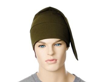 Bonnet de nuit coton vert Olive Drab fait chapeau dormir dans
