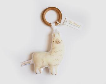 Organic Llama Rattle - Llama Toy - Baby Rattle / Baby Gift / Natural Wood Rattle / Wood Toy / Baby Toy / Baby Shower Gift / Montessori