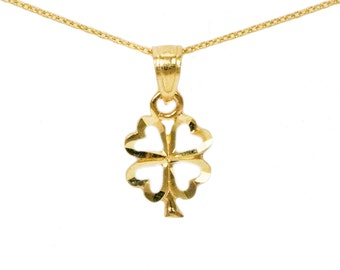 10k Yellow Gold Four Leaf Clover Necklace