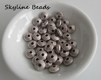 Tibetan Style Beads, Antique Silver, Disk Shape, 8mm x 4mm