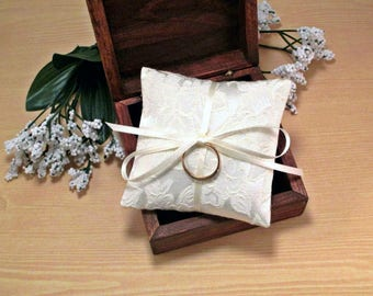 Small Ring Pillow, Mini Wedding Ring Bearer Box Pillow, Floral Ivory Ring Pillow, Flowers, Jacquard, Brocade, Miniature, Cream, Off White