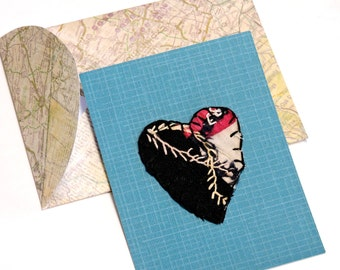 Crazy Quilt Heart Card, Antique Patchwork Embroidered Textile Fiber Art to Frame, Unique Anniversary Valentines Day Greeting itsyourcountry