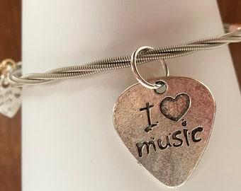 Guitar string bracelet bangle, recycled.  StringsGoneWild.i love music.