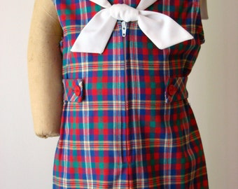 Boys Sailor Romper/Shortall  in Blue/Red/Green/White plaid- sizes 12 months,18 months,3Tand 4T