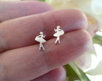 "925 Sterling silver Tiny stud earrings ""Ballerina"". Sterling silver 925."