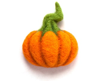 Pumpkin Brooch Felt Brooch Needle Felted Pumpkin Brooch Pumpkin Jewelry Wool Plant Vegetable Brooch Halloween jewelry