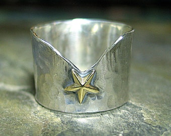 Star Ring Wide Band Hammered Sterling Silver Brass Star Lone Star - One Gold Star