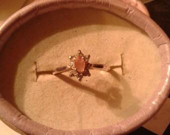 Rarest Natural Bixbite &White Zircon Sterling Silver Engagement Ring