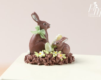 MTO-Chocolate Easter Rabbit Family Display (D) - Miniature Food in 12th Scale for Dollhouse