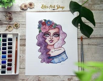 Hazel Eyes-Boho Watercolor, mixed media art, Flower Crown