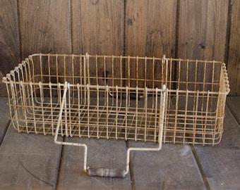 Antique Metal basket wire basket, antique metal bin, vintage organization, storage, metal basket, hardware bin, locker basket