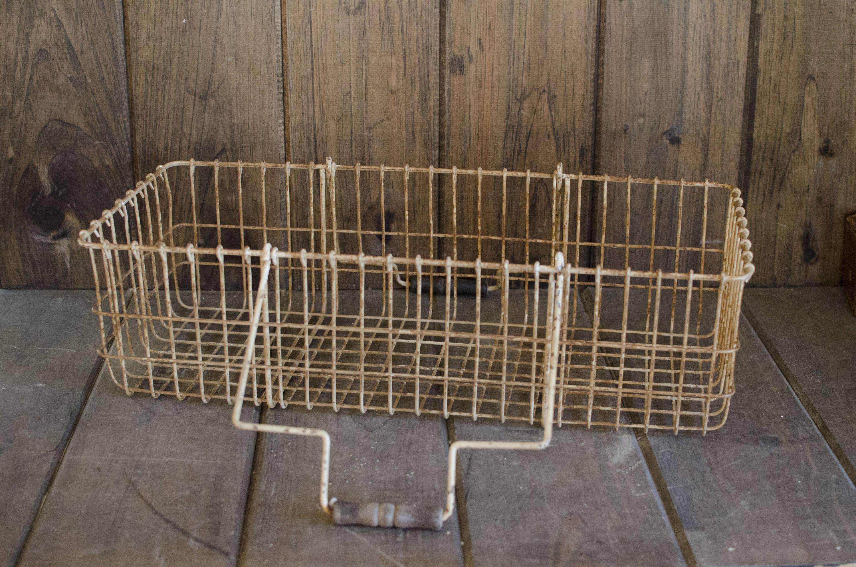 Antique Metal basket wire basket antique metal bin vintage