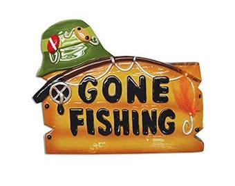 Gone Fishing Fisherman Personalized Christmas Tree Ornament