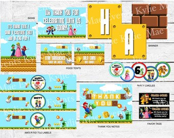 Digital Super Mario Brothers Birthday Party Pack, party supplies