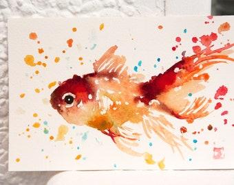 Fish original small watercolor painting, Fish art, Bobapainting