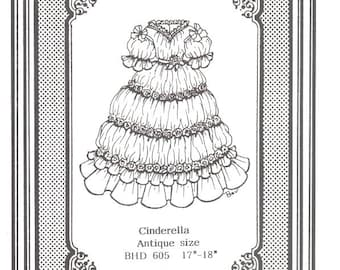 Doll dress gown Antique vintage look sewing pattern uncut  605