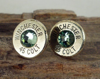 Colt 45 - Peridot - Winchester - Ultra Thin Bullet Earrings