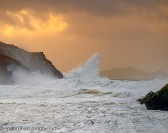 The sleeping giant in a stormy sunset