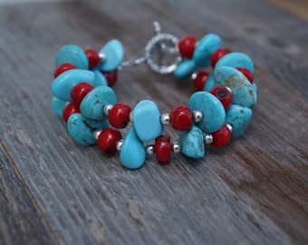 Double Strand Turquoise and Red Bracelet, Turquoise Howlite Jewelry, Boho Jewelry, Toggle Bracelet