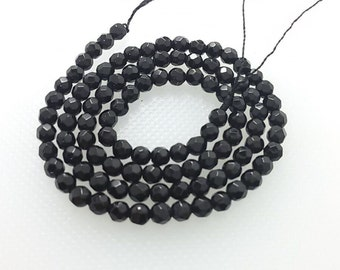 3 Full strands 4mm black onyx  round   beads wholesale for exclusive jewelry