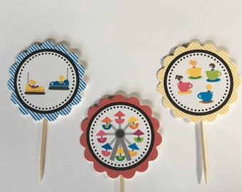 Theme park cupcake toppers