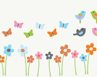 Flowers decal, nursery decor, gender neutral, nursery wall art, Wall Decal, Perfectly Colorful Design