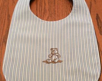 Baby Bib - Embroidered Teddy Bear - Reversible - Handmade
