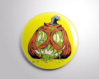 "ROTTING JACK O' LANTERN  2.25"" button Bill Hauser Art"